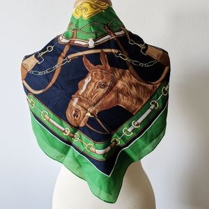 Vintage Horse Scarf Made in Italy Valentina Fiore
